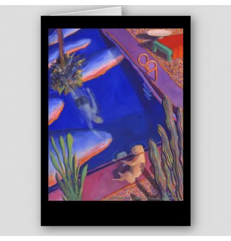 """Byron Watches Lofton Swim"" Fine Art Note Card"
